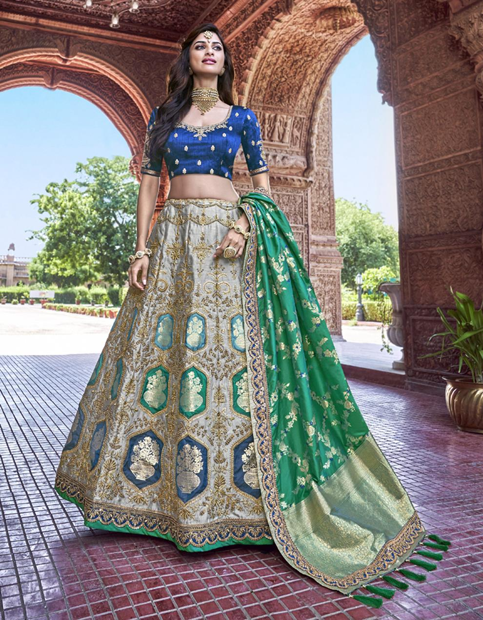 Banarasi Silk Multicolor Semi Stitched Lehenga with Choli And Dupatta LSD2786
