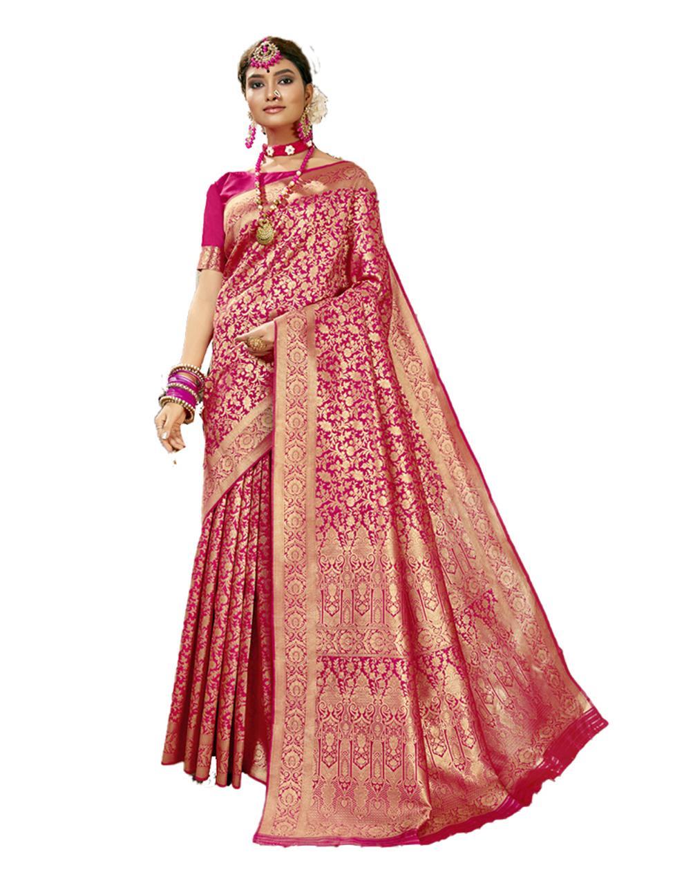 Rani pink Banarasi Silk Saree With Blouse SD24180
