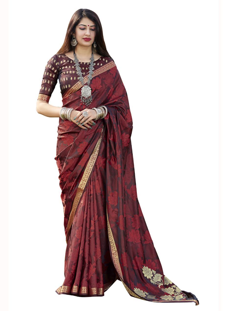 Brown Banarasi Silk Saree With Blouse SD24187