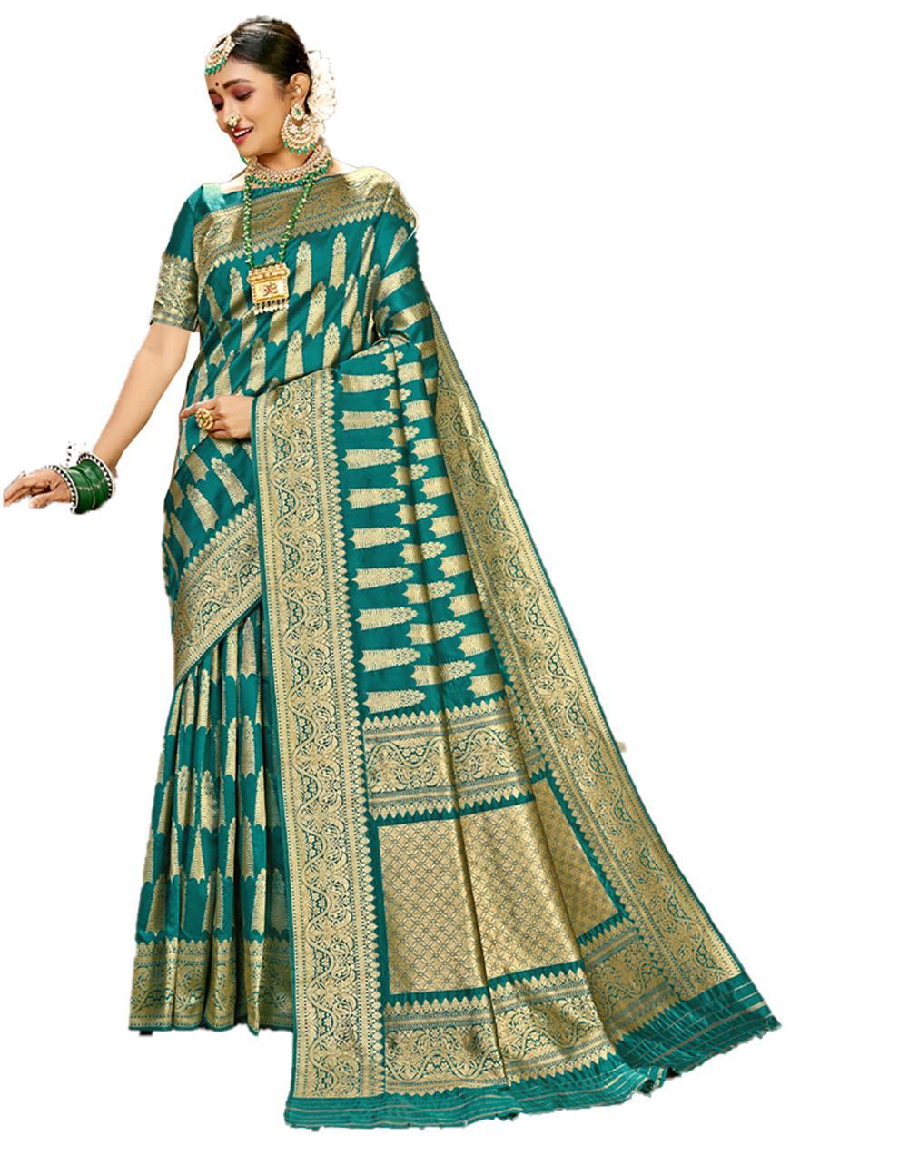 Green Banarasi Silk Saree With Blouse SD24176