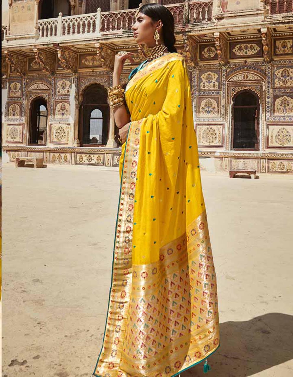 Yellow Silk Saree With Blouse SD25149