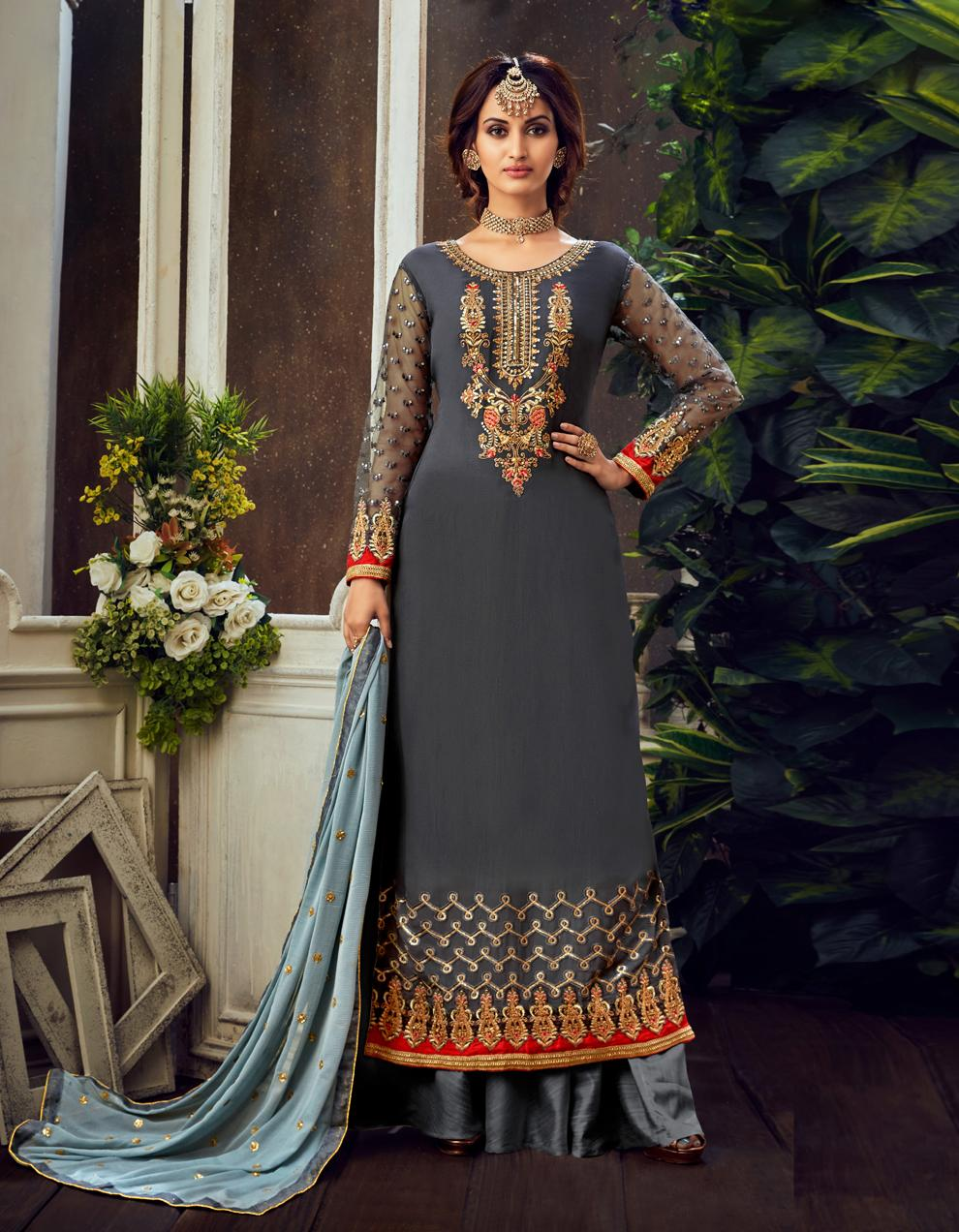 Grey Pure Georgette Straight Suit SHL8564