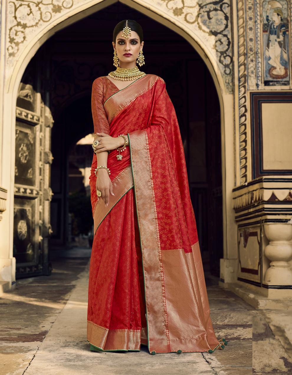 Red Jacquard Silk Saree With Blouse SD25282