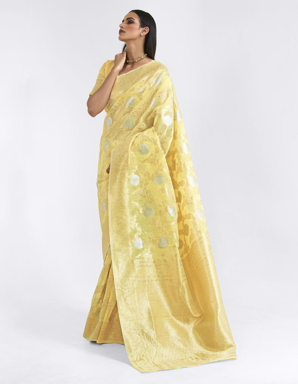 Yellow Linen Saree With Blouse SD25180