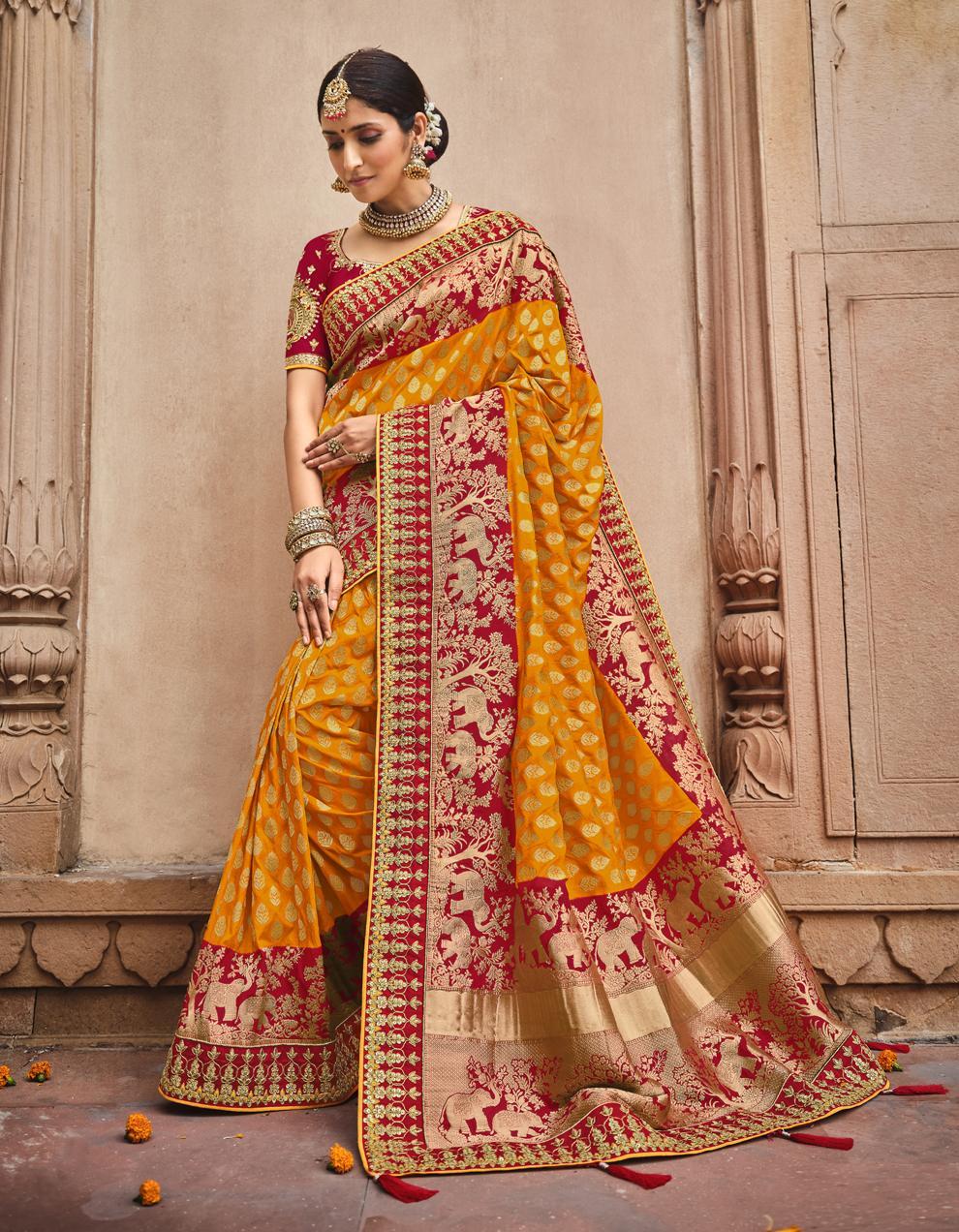 Multicolor Dola Silk Saree With Blouse SD25185