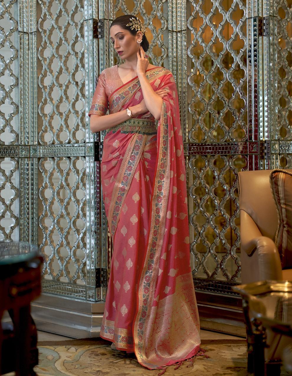 Peach Pure Satin Silk Saree With Blouse SD25276
