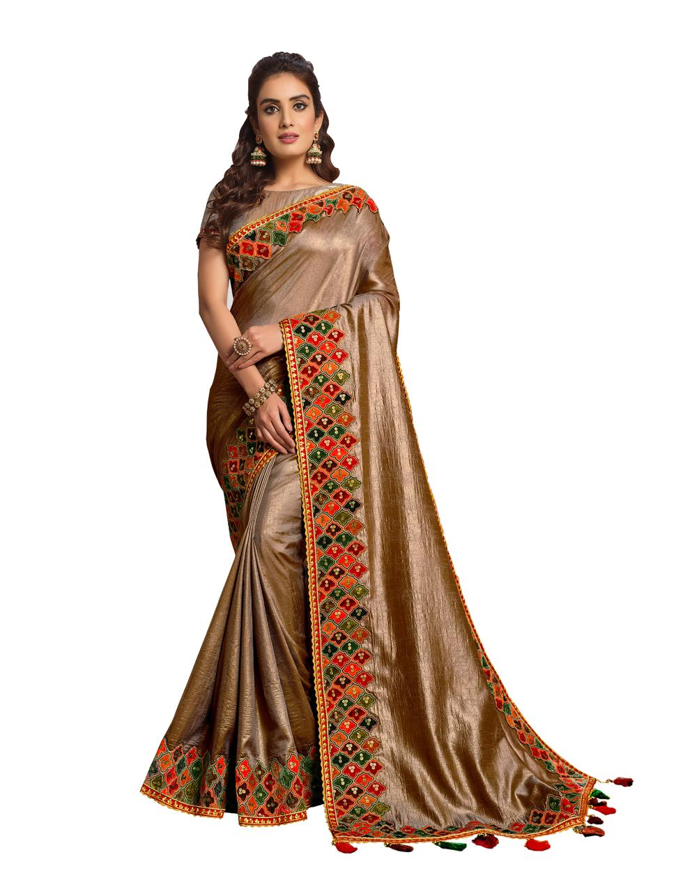 Beige Satin Silk Saree With Blouse MH25085