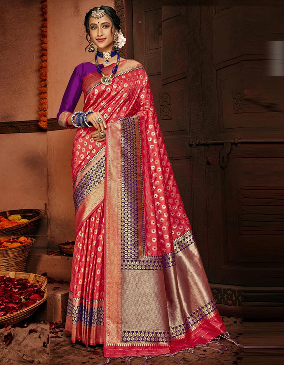 Multicolor Lichi Silk Saree With Blouse SD24104