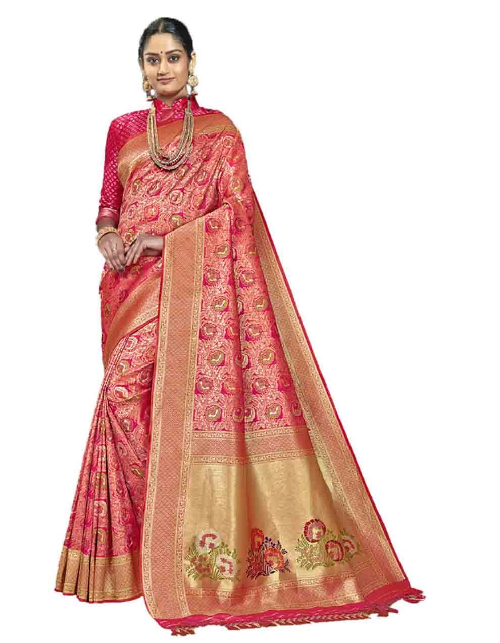 Pink Silk Saree With Blouse SD23757