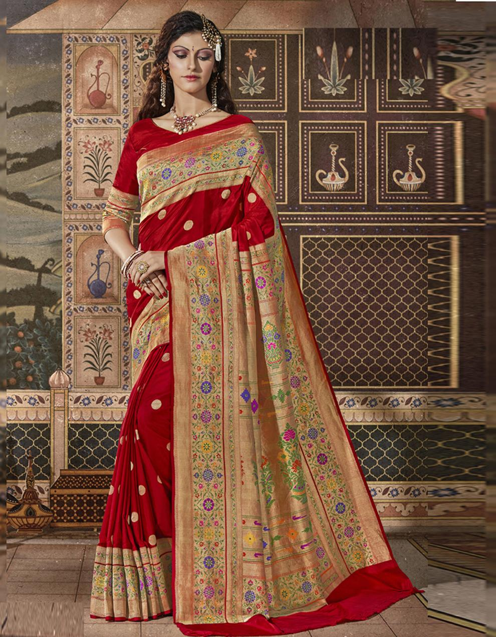 Red Silk Saree With Blouse SD23839