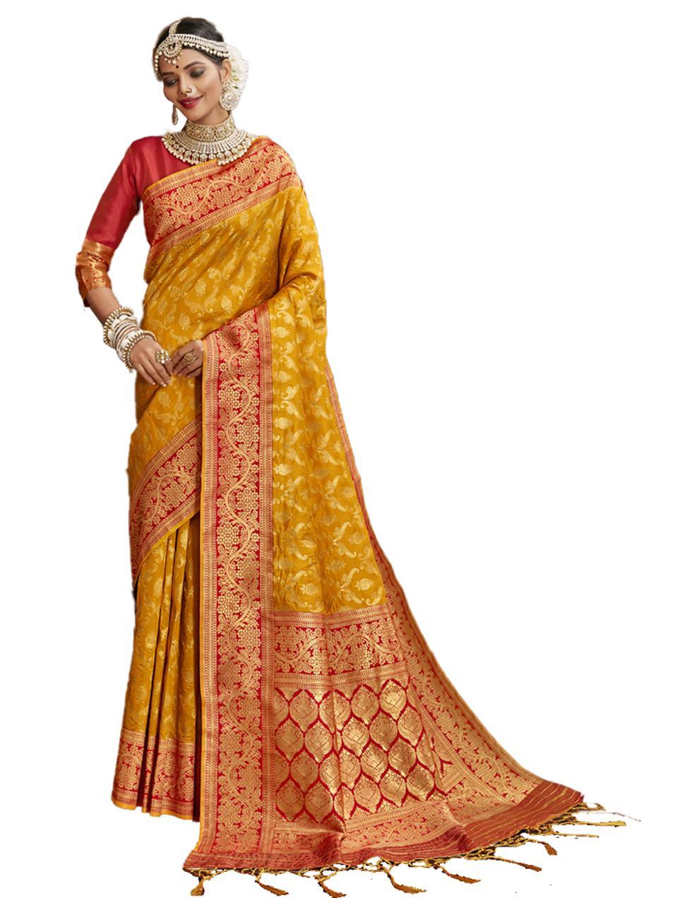 Yellow Banarasi Silk Saree With Blouse SD24214