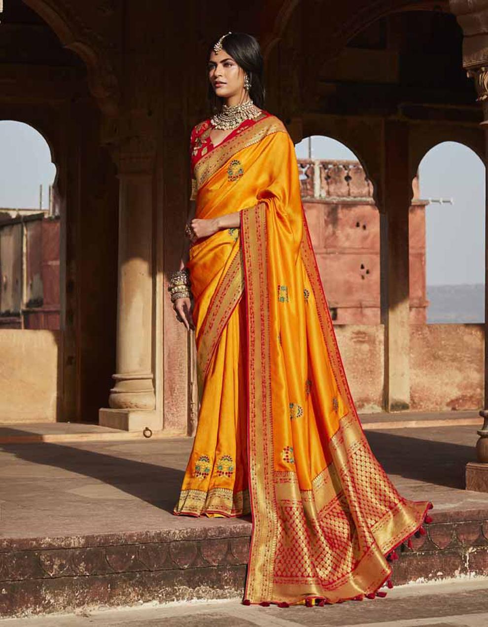Orange Silk Saree With Blouse SD25137