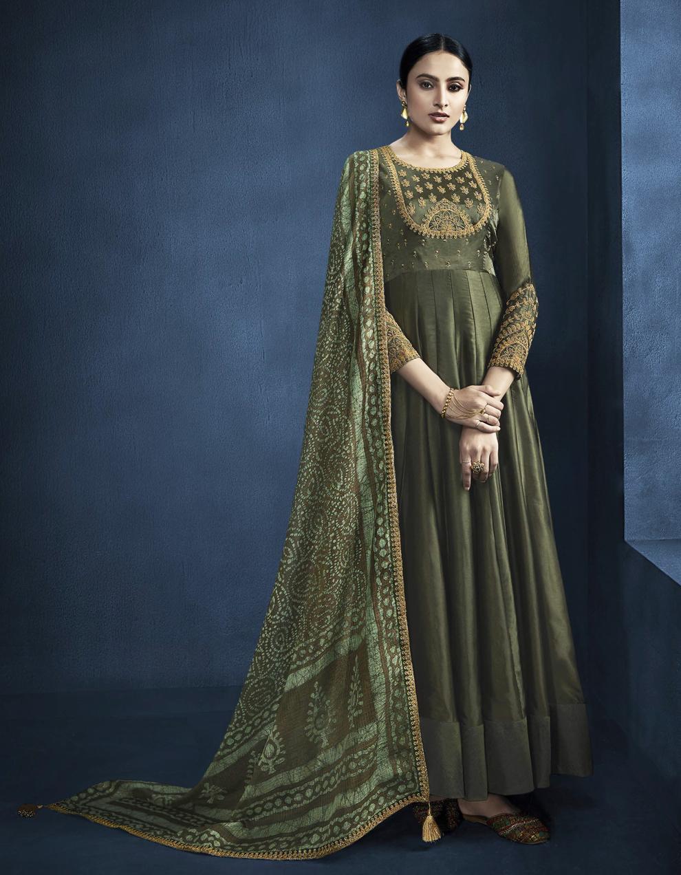 Green Satin Georgette Anarkali Suit SMF8550