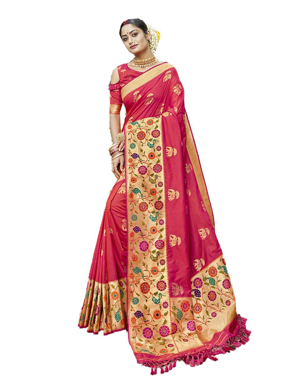 Rani Pink Silk Saree With Blouse SD23822