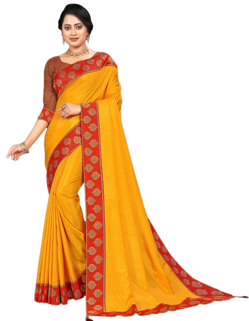 Yellow Vichitra silk Saree With Blouse IW24555