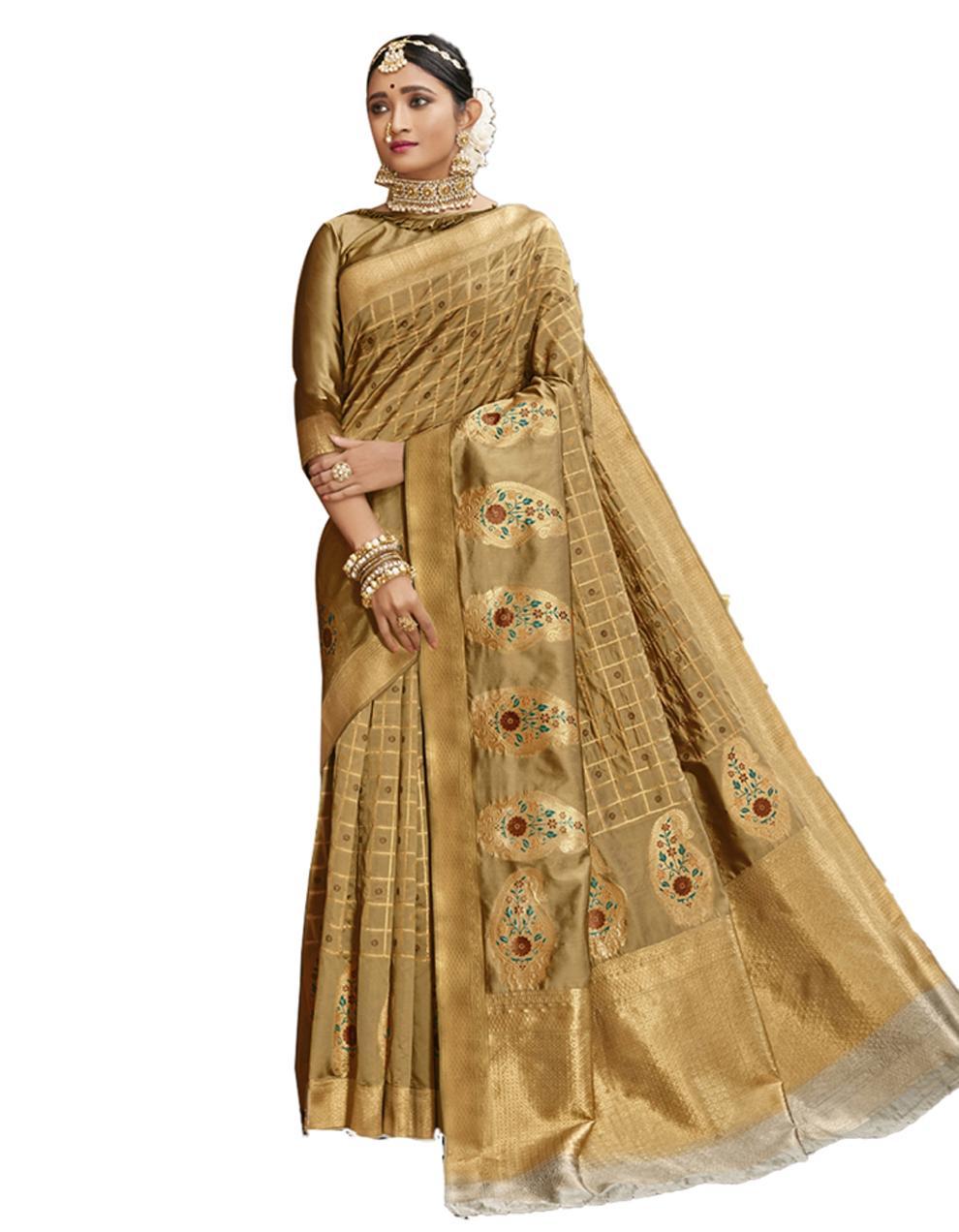 Cream Banarasi Silk Saree With Blouse SD24220