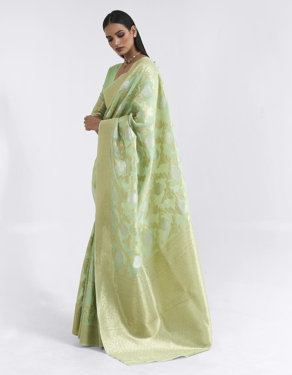 Pista green Linen Saree With Blouse SD25178