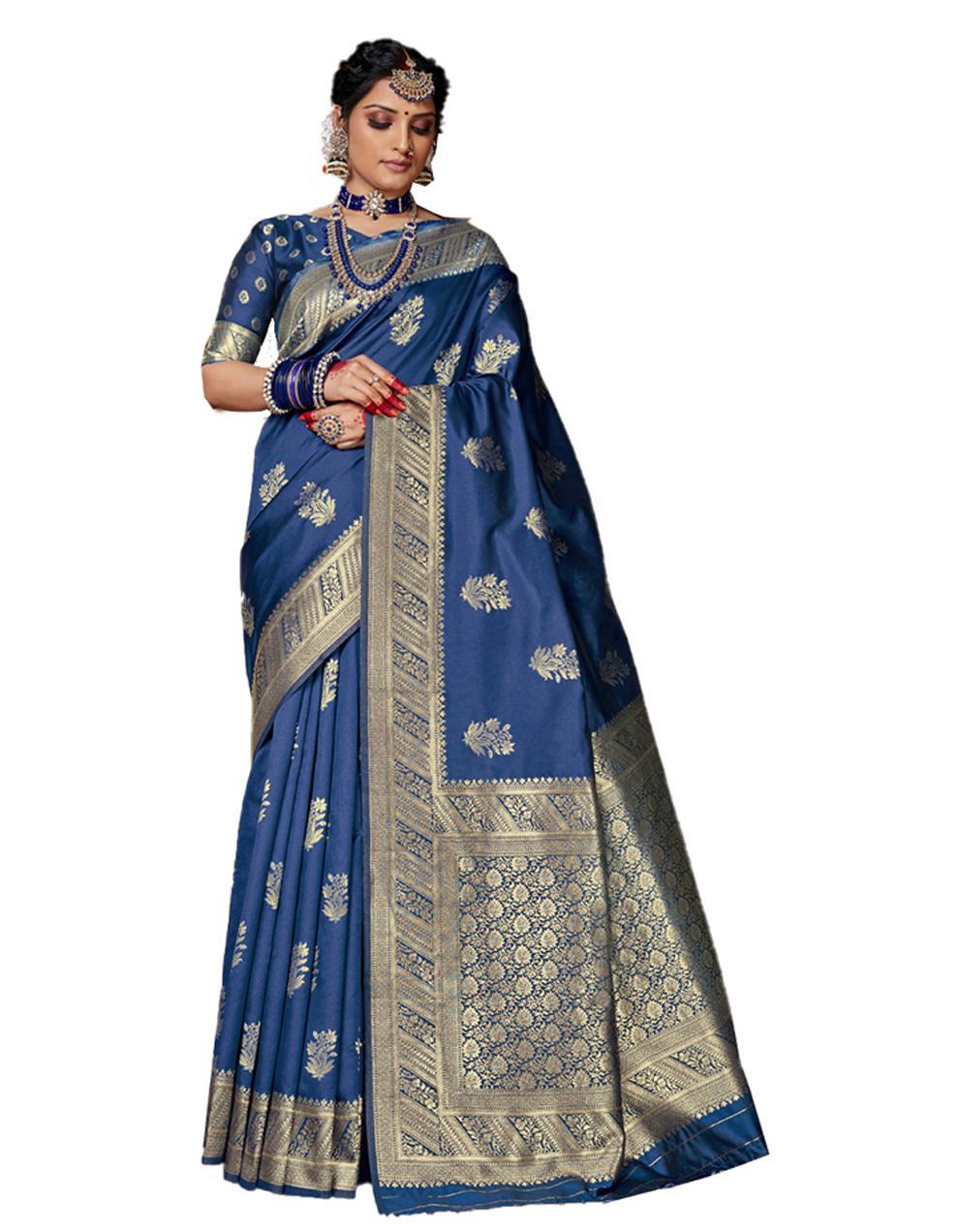 Blue Banarasi Silk Saree With Blouse SD24152