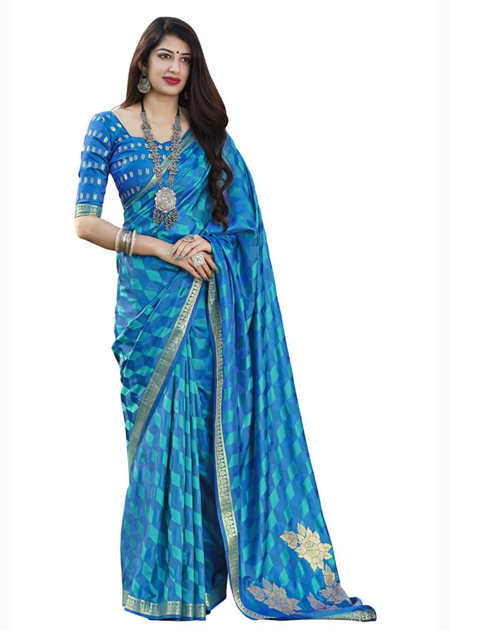 Blue Banarasi Silk Saree With Blouse SD24189