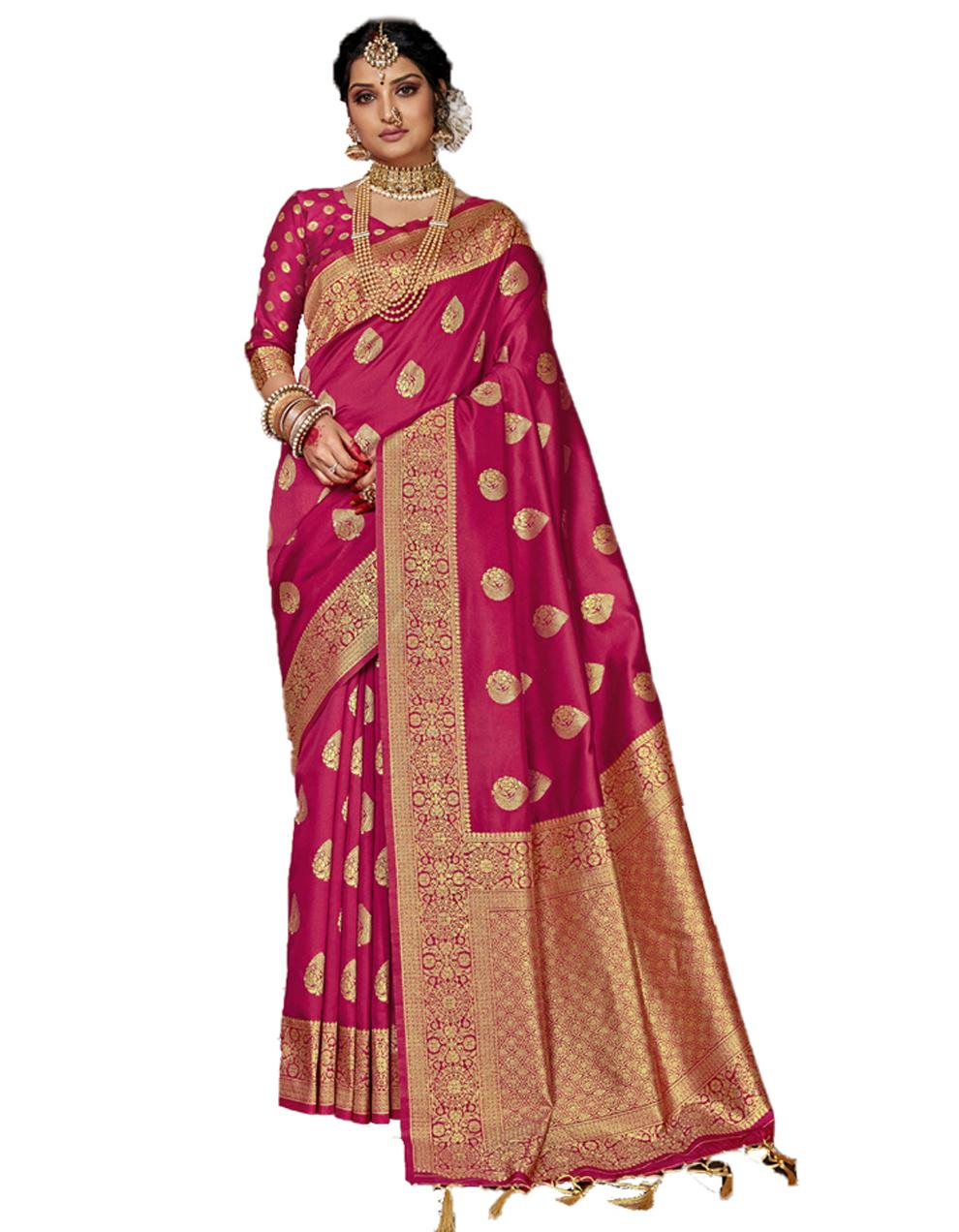 Pink Banarasi Silk Saree With Blouse SD24151