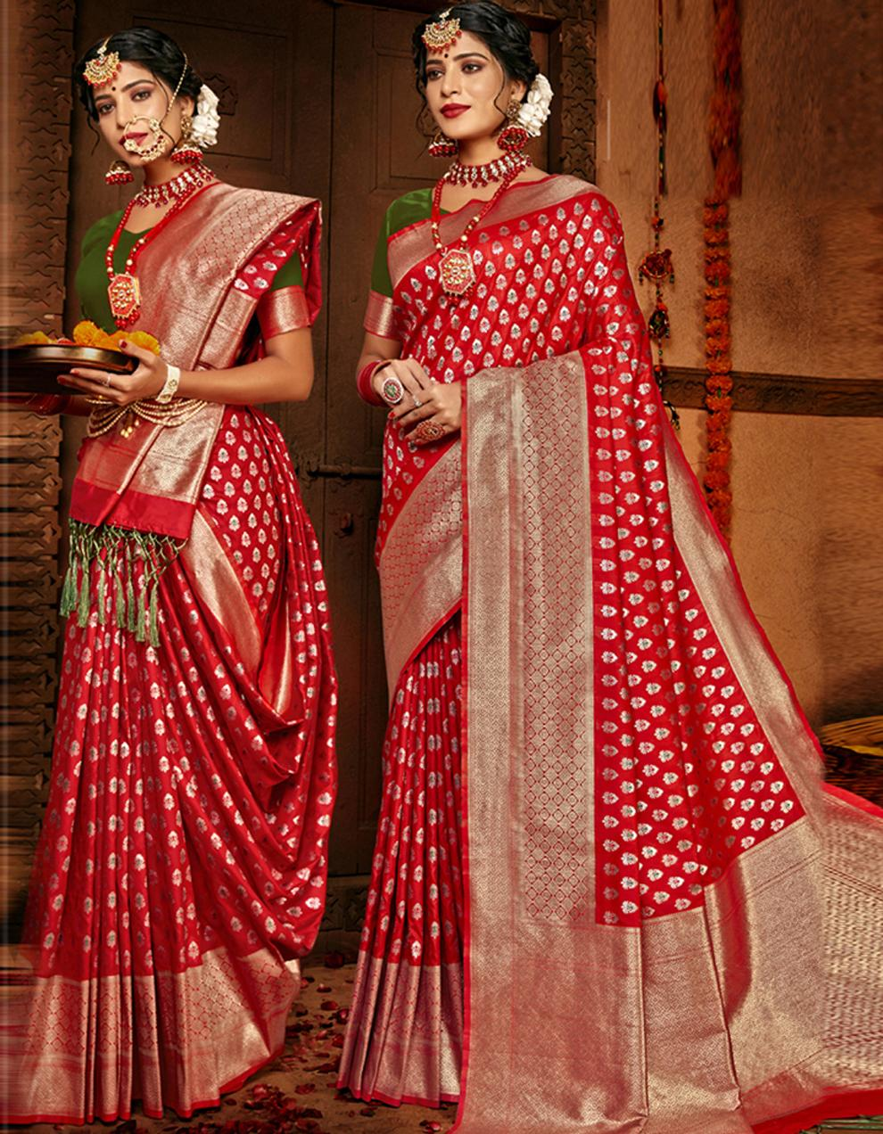 Red Lichi Silk Saree With Blouse SD24108