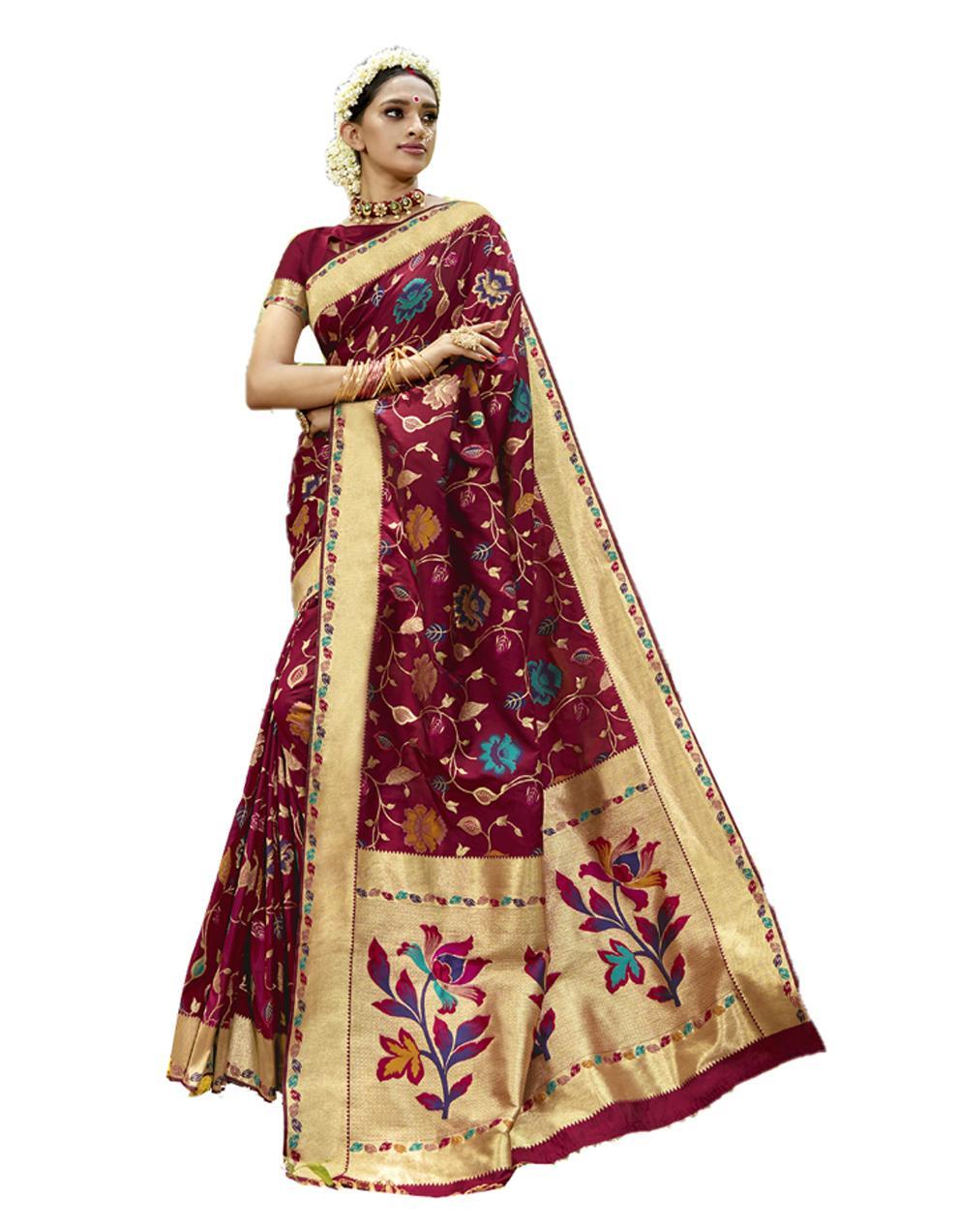 Maroon Silk Saree With Blouse SD23828