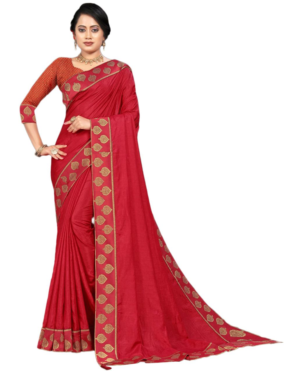 Red Vichitra silk Saree With Blouse IW24554