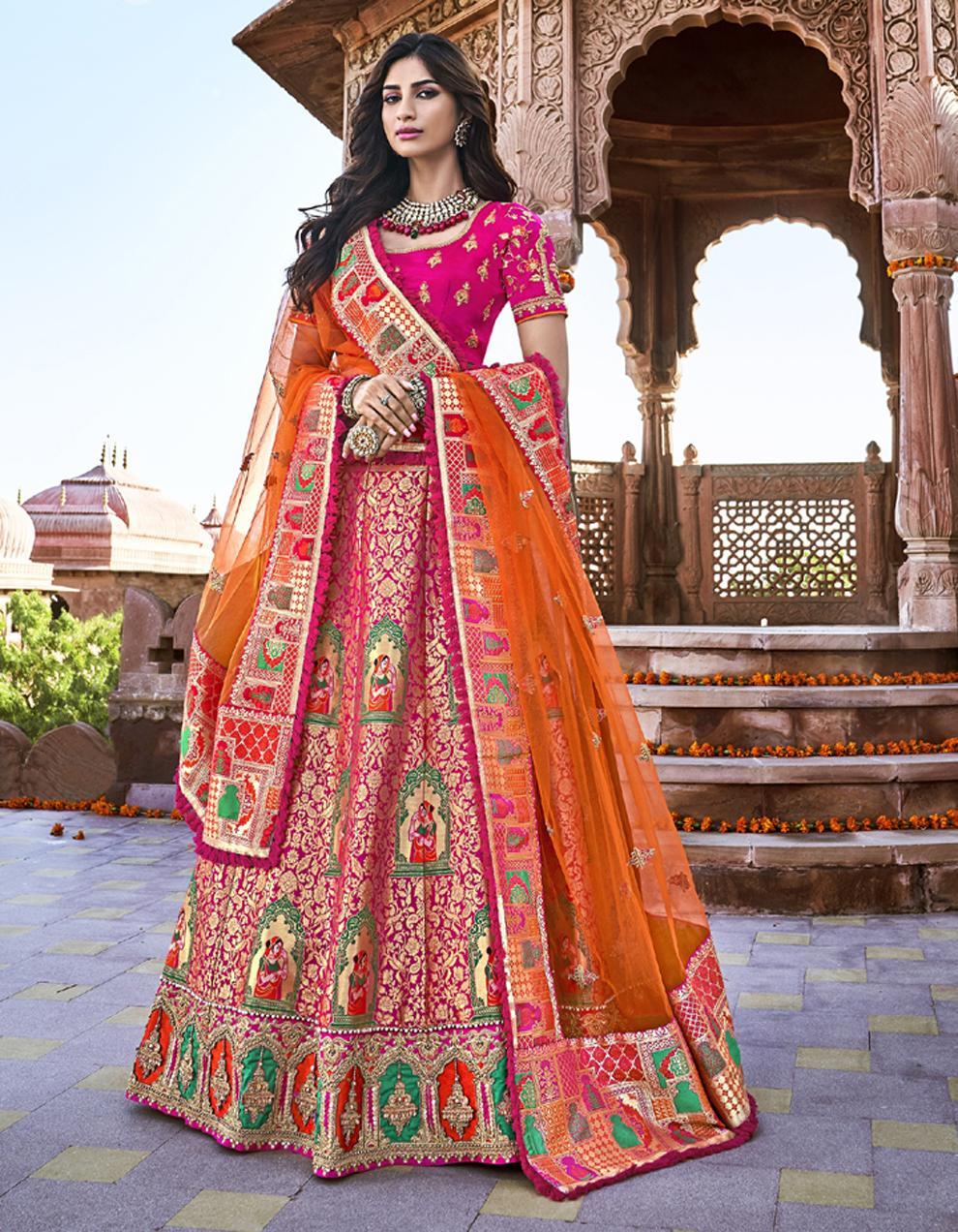 Banarasi Silk Rani Pink Semi Stitched Lehenga with Choli And Dupatta LSD2782