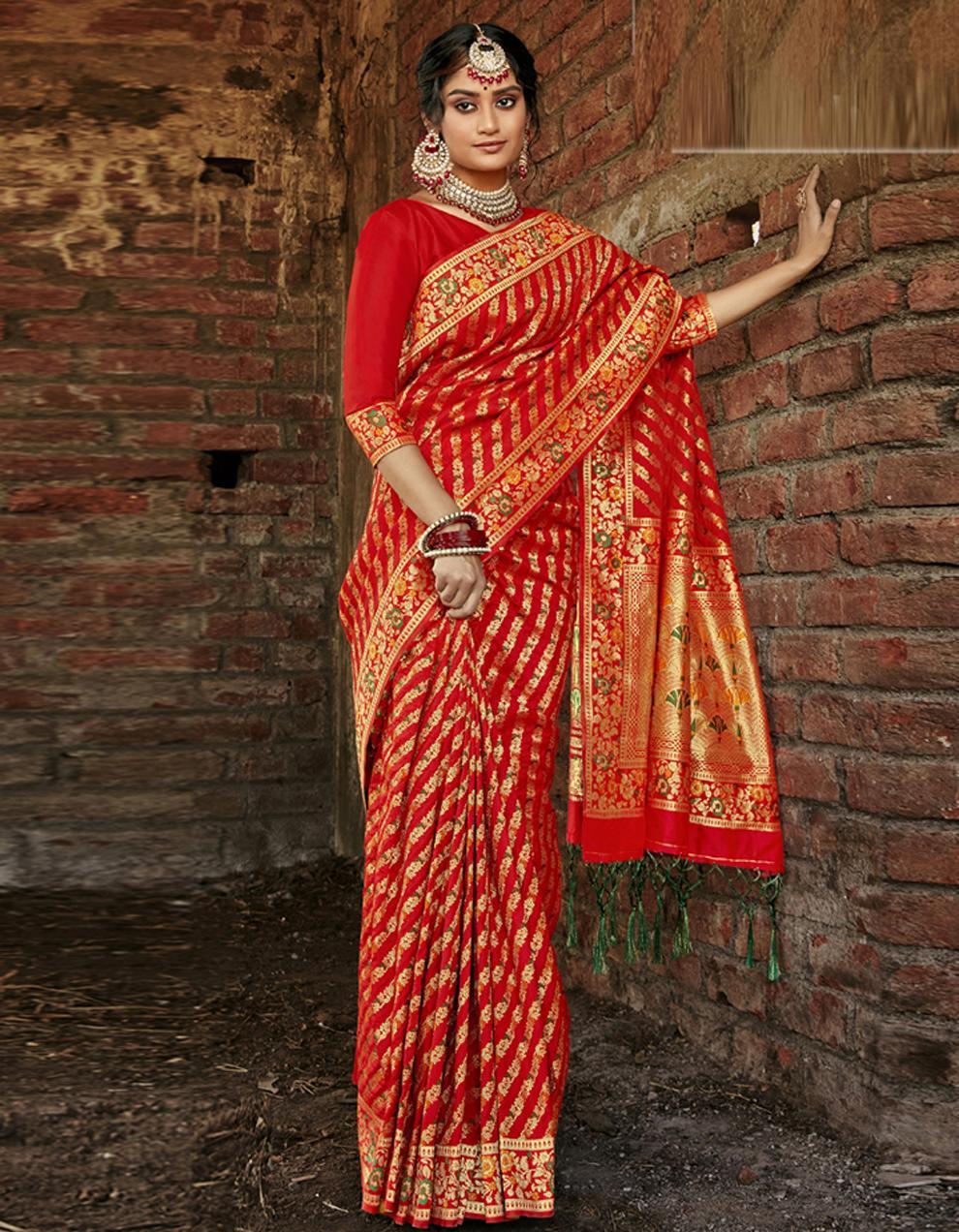 Red Banarasi Saree With Blouse SD24164