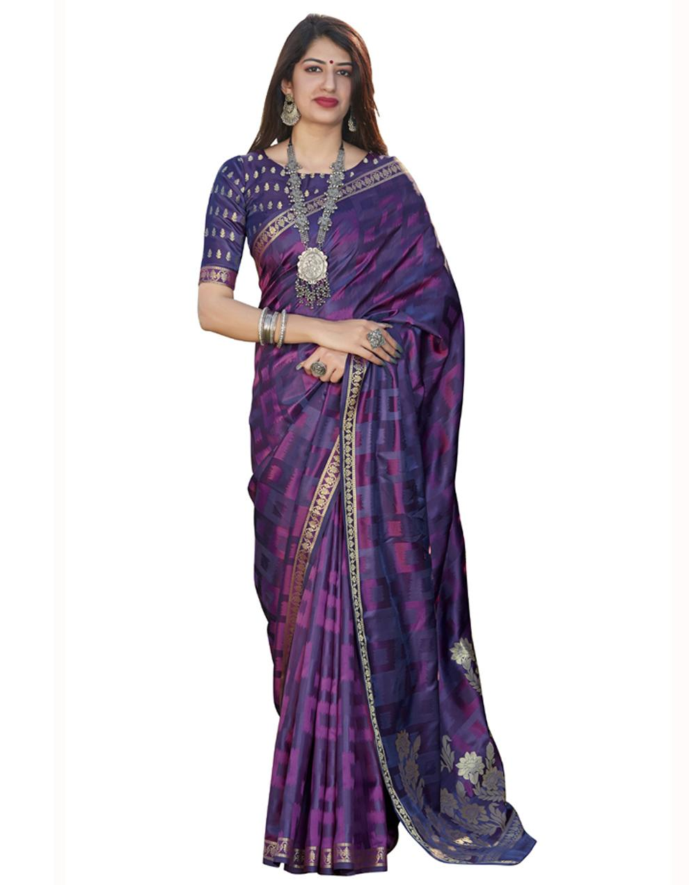 Purple Banarasi Silk Saree With Blouse SD24190