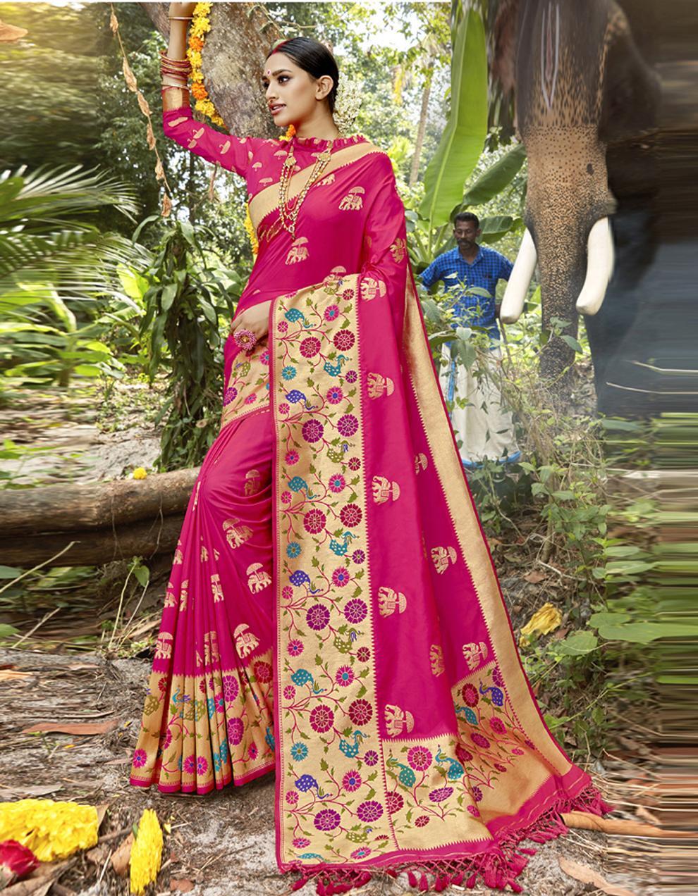 Rani Pink Silk Saree With Blouse SD23824