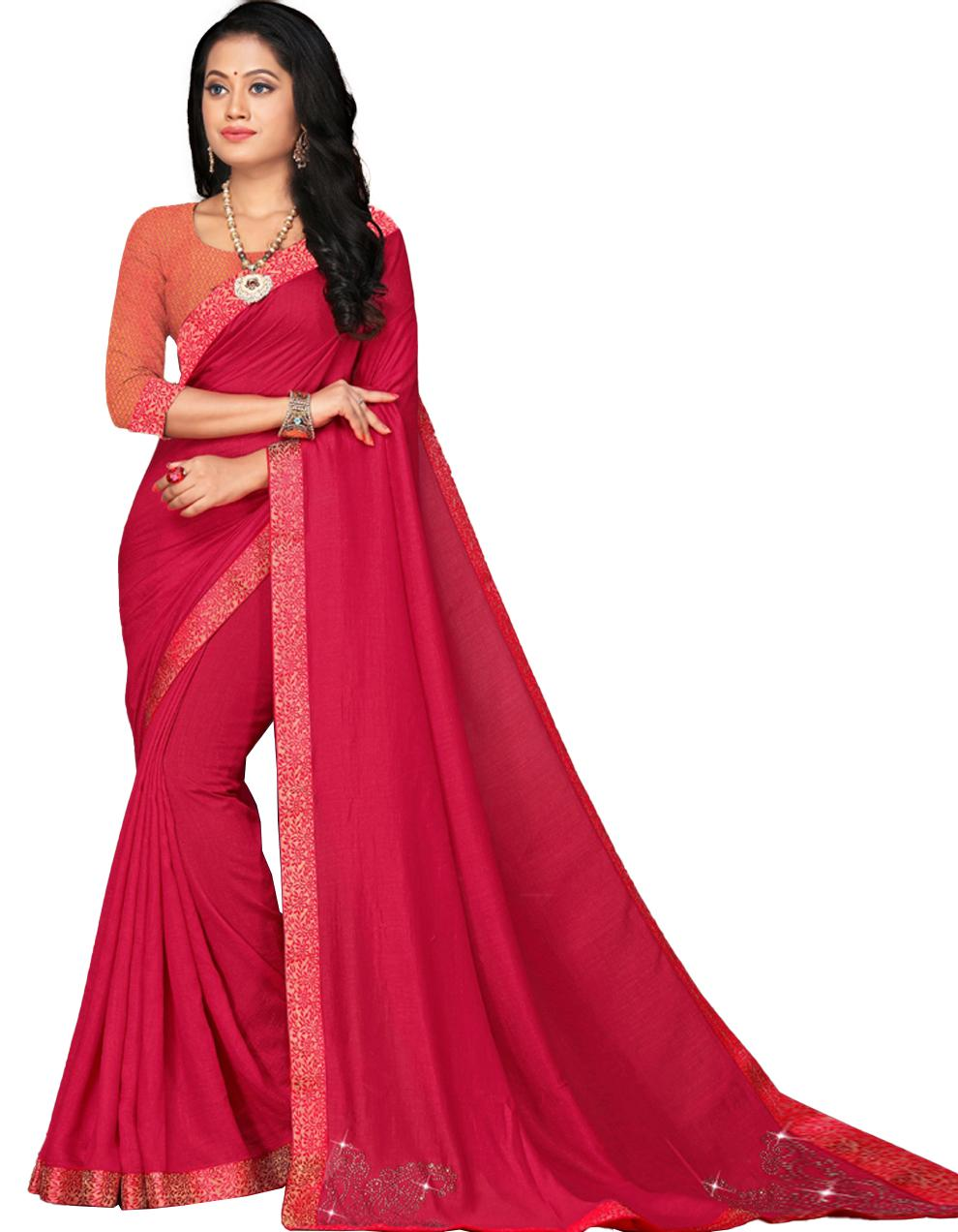 Pink Vichitra silk Saree With Blouse IW24330