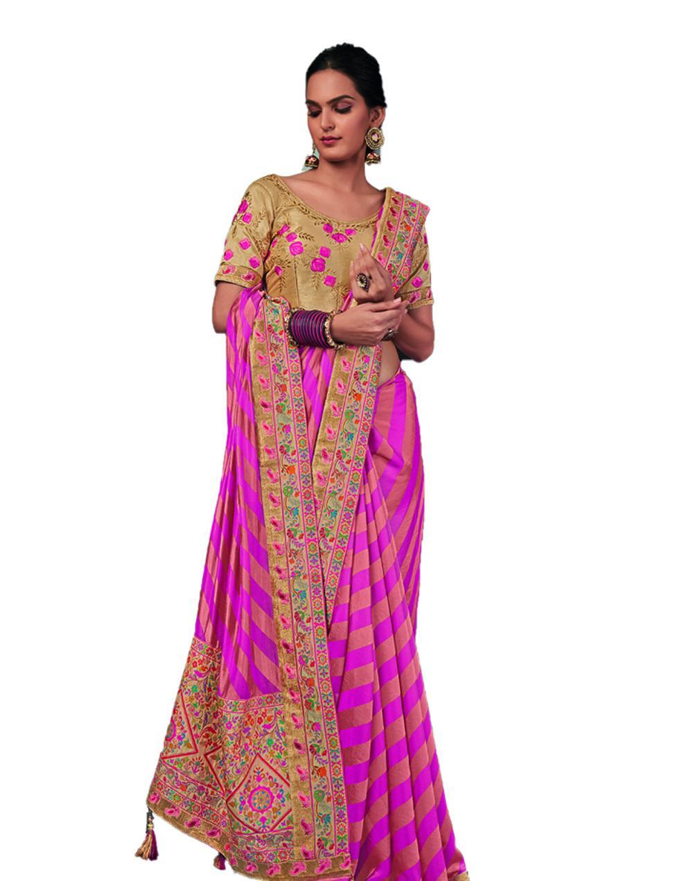 Pink Silk Saree With Blouse SD24194