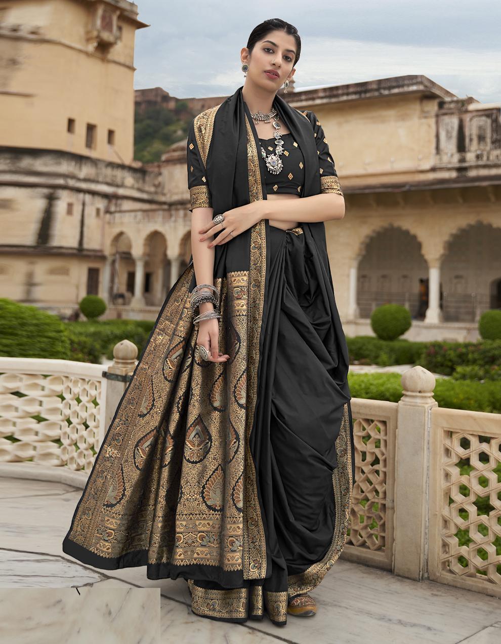 Black Silk Saree With Blouse SD25255