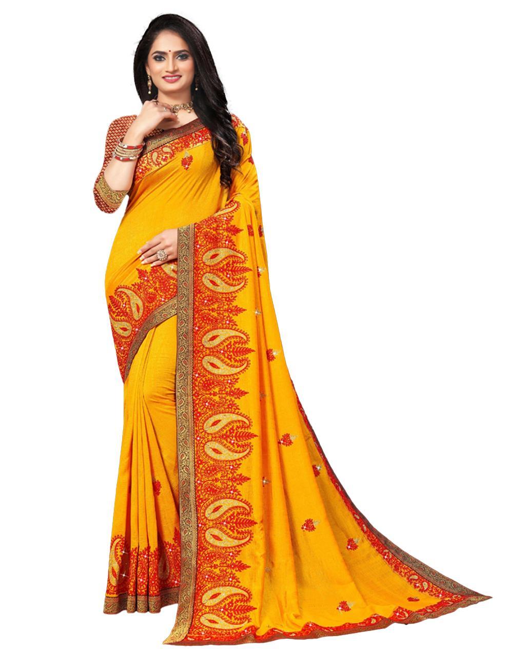Yellow Vichitra silk Saree With Blouse IW24385