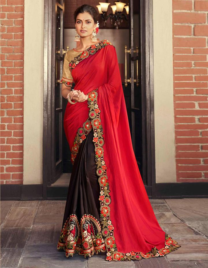 Red  Fancy Fabric Saree With Blouse MH25062