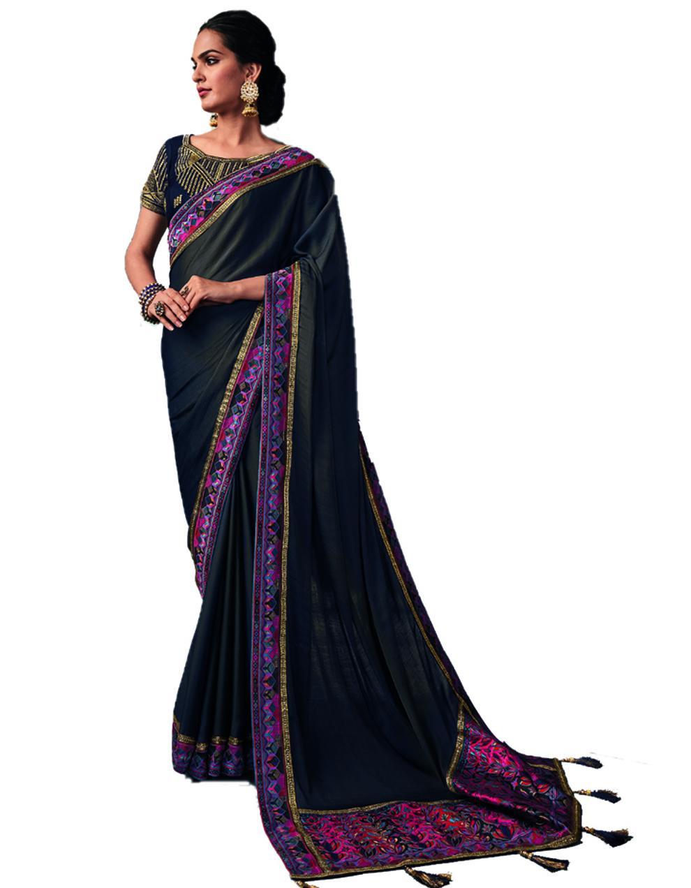 Black Silk Saree With Blouse SD24193