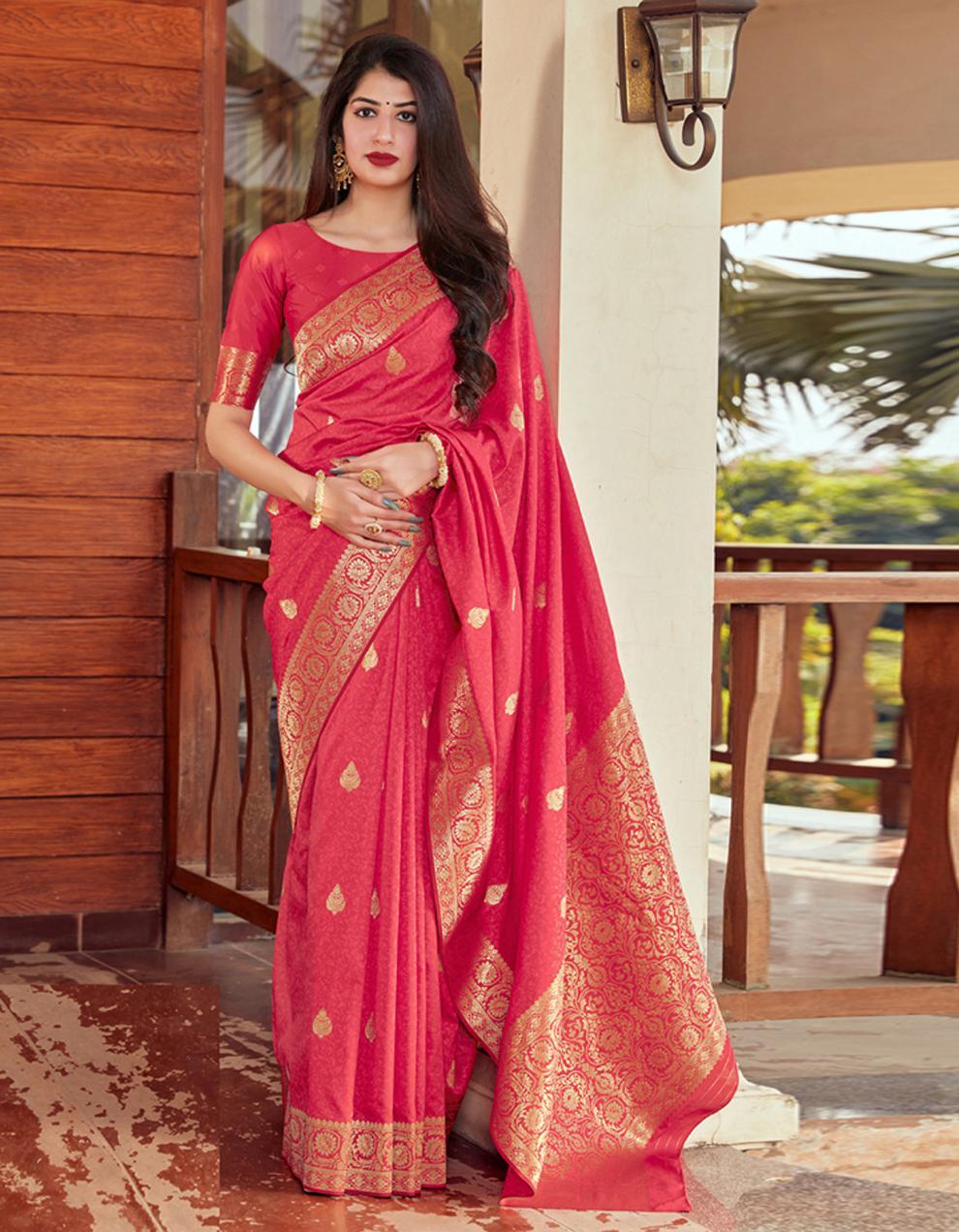 Rani pink Silk Saree With Blouse SD24081