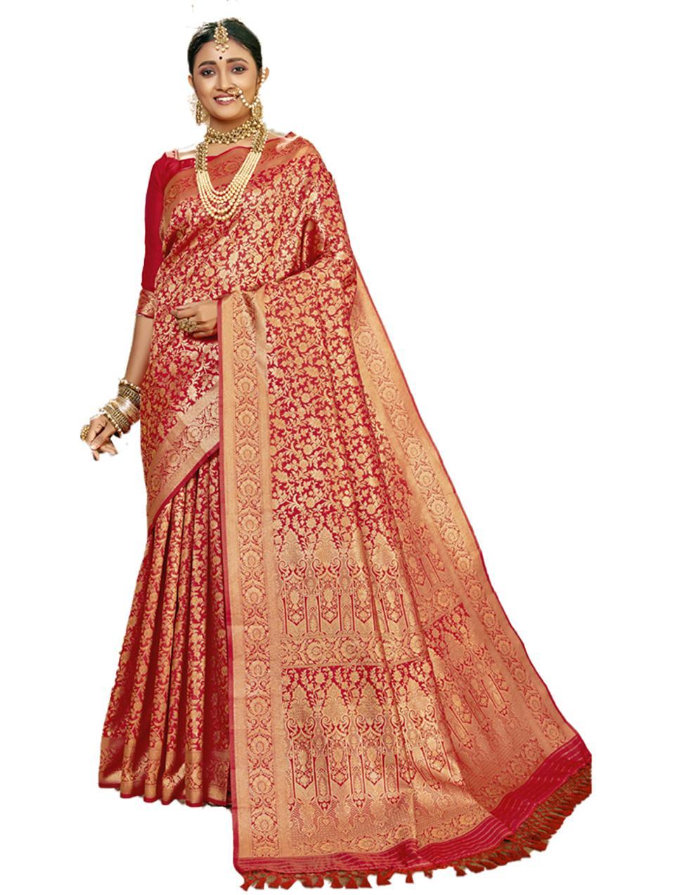 Red Banarasi Silk Saree With Blouse SD24182