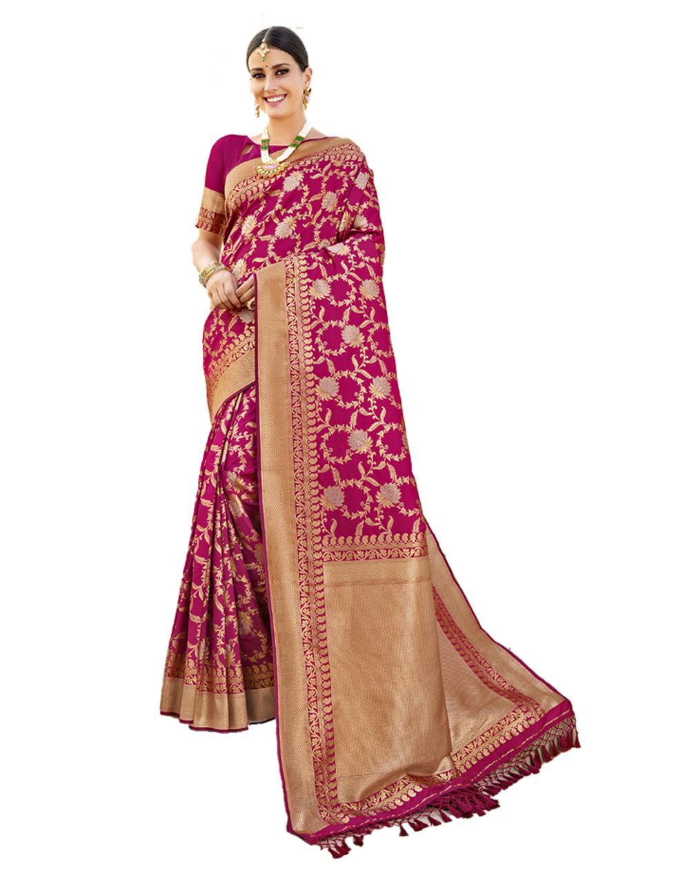 Rani pink Banarasi Silk Saree With Blouse SD24209