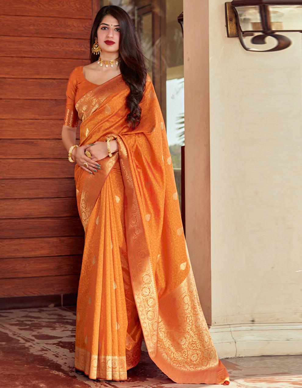 Orange Silk Saree With Blouse SD24080