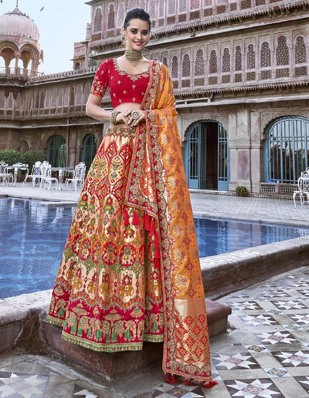 Banarasi Silk Multicolor Semi Stitched Lehenga with Choli And Dupatta LSD2779