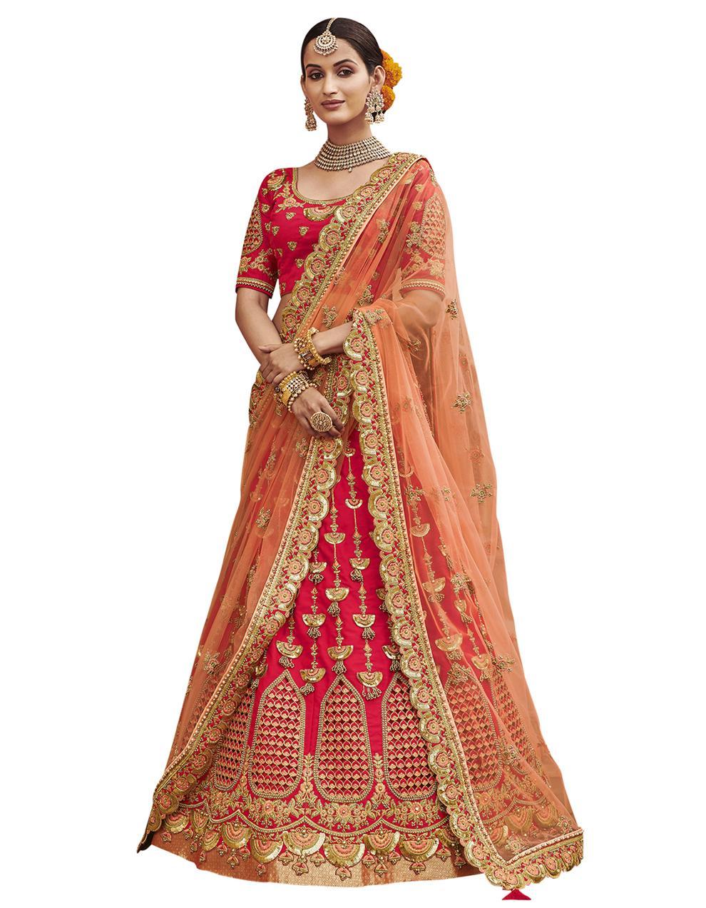 Silk Rani pink Semi Stitched Lehenga with Choli And Dupatta LSD2805