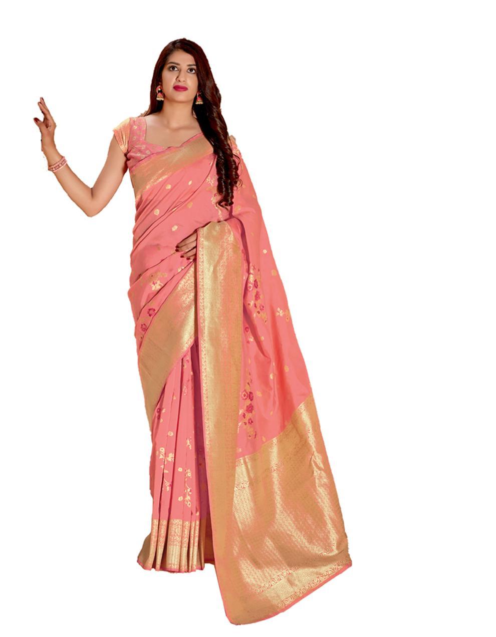 Light pink Silk Saree With Blouse SD23858