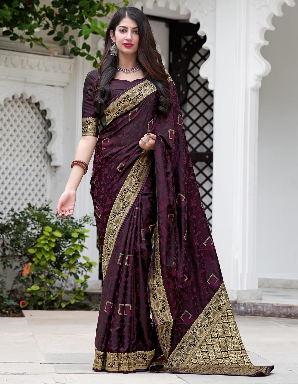 Brown Silk Saree With Blouse SD25265