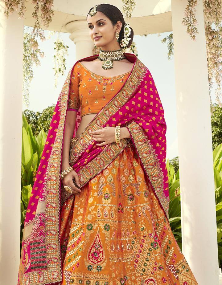 Banarasi Silk Yellow Semi Stitched Lehenga with Choli And Dupatta LSD2809