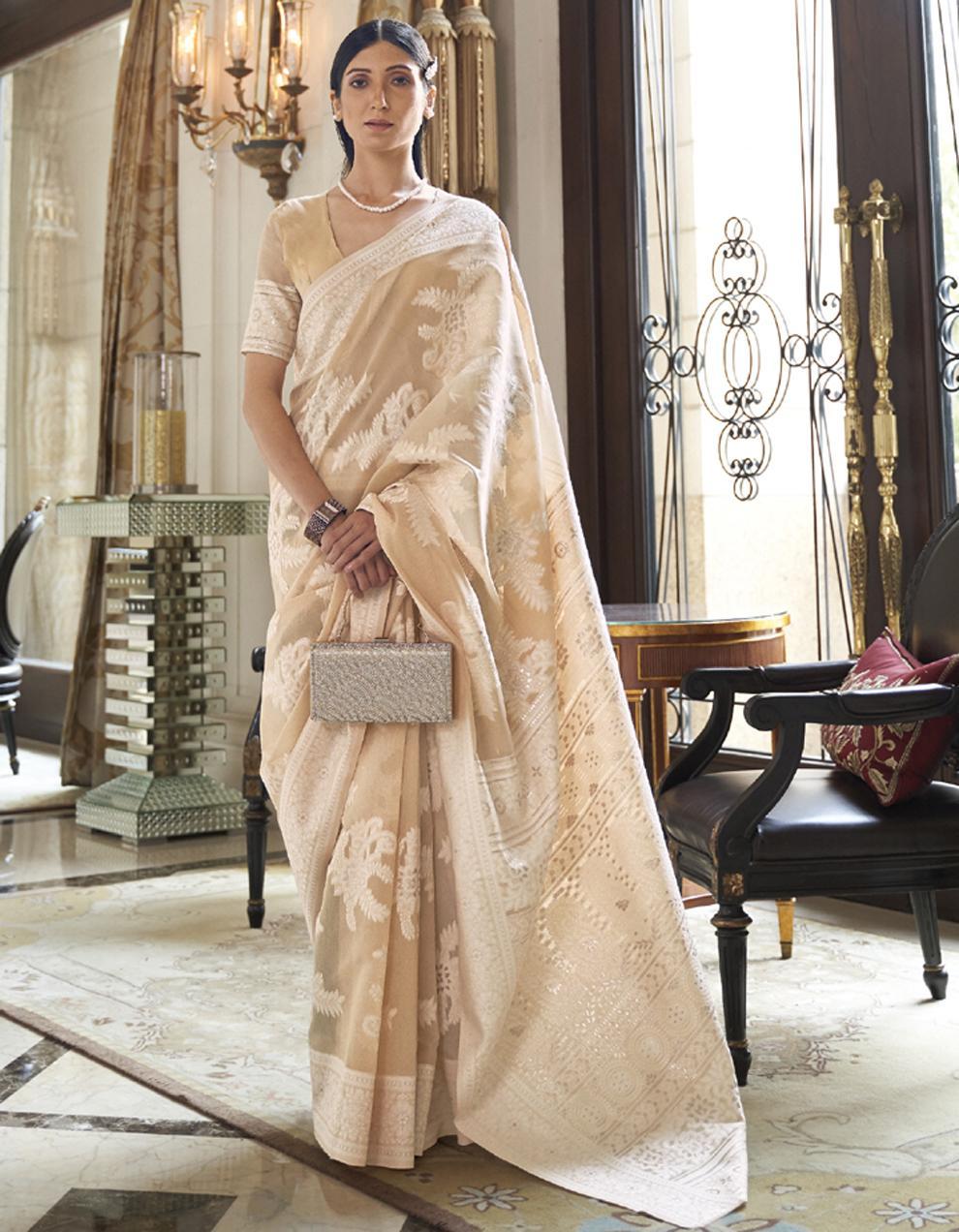 Light peach Lucknowi Silk Saree With Blouse SD25153