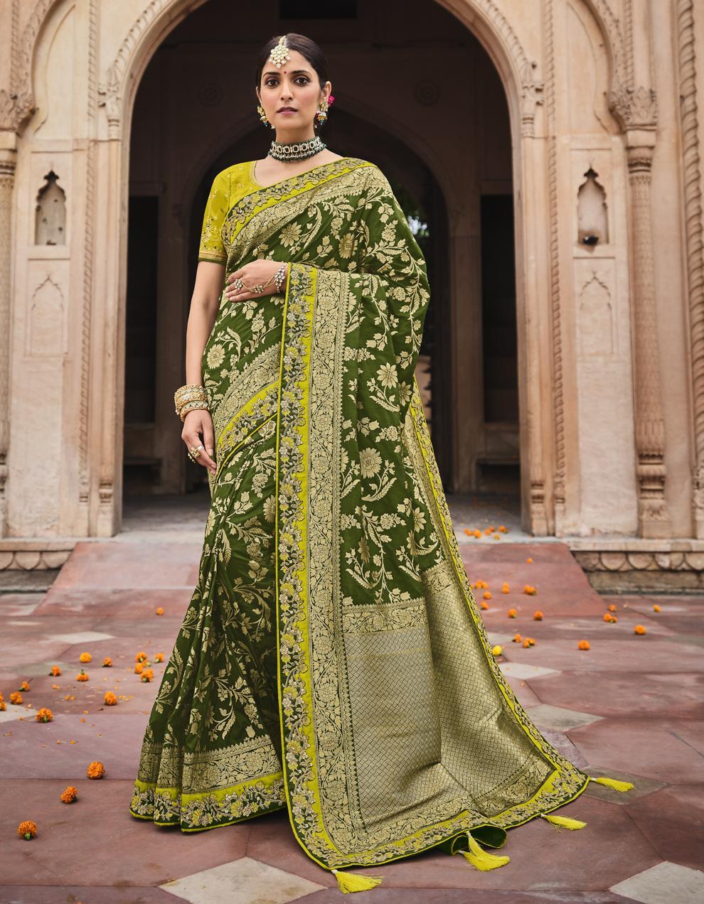 Multicolor Dola Silk Saree With Blouse SD25183