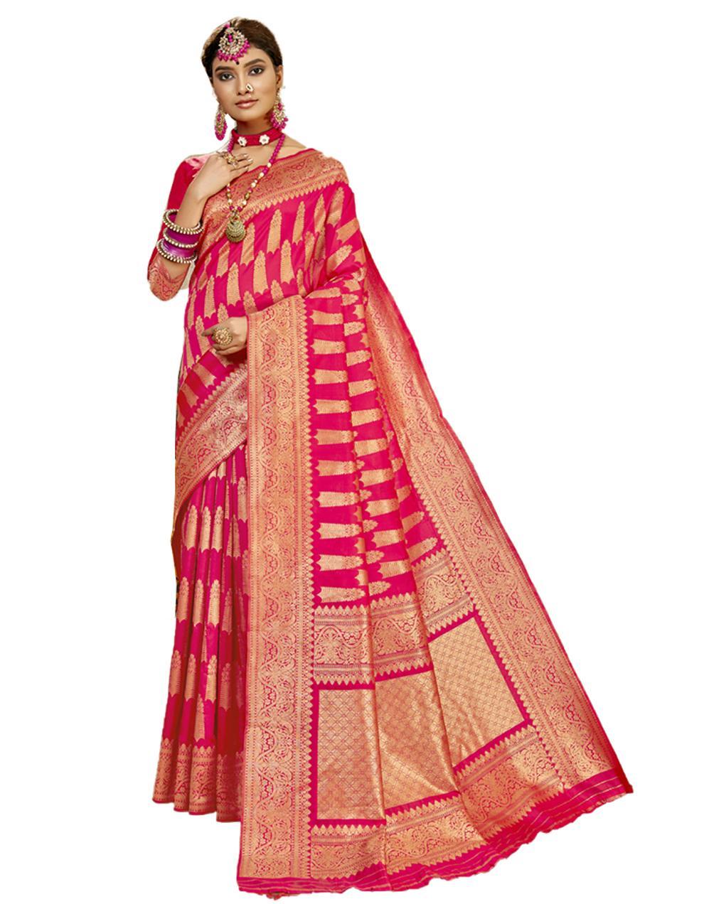 Rani pink Banarasi Silk Saree With Blouse SD24177