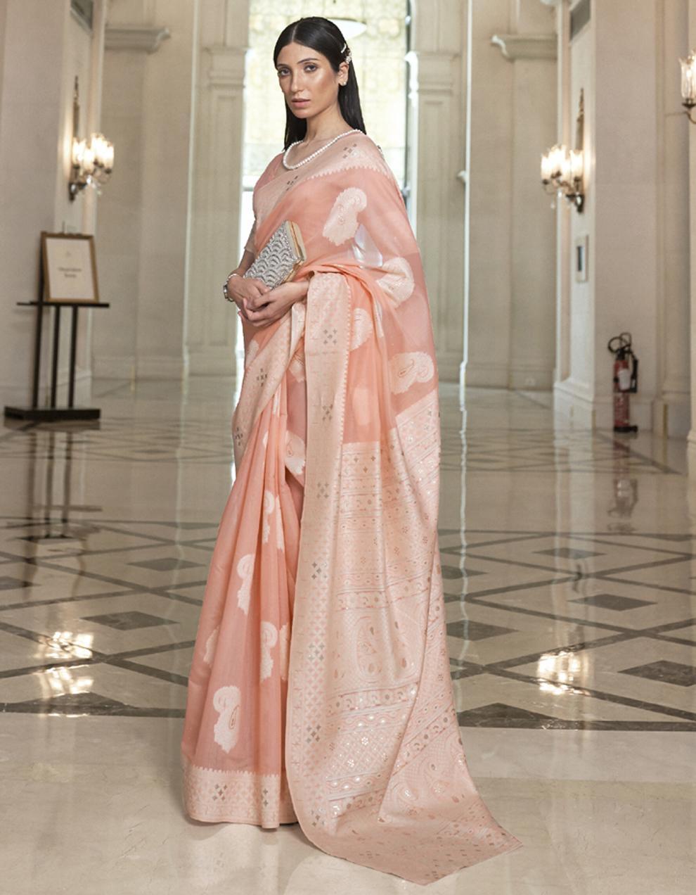 Peach Lucknowi Silk Saree With Blouse SD25155